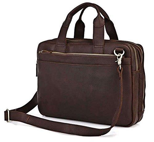 Everdoss Herren echt Leder Aktentasche Umhängetasche Schultertasche Businesstasche Handtasche für Business dunkel braun