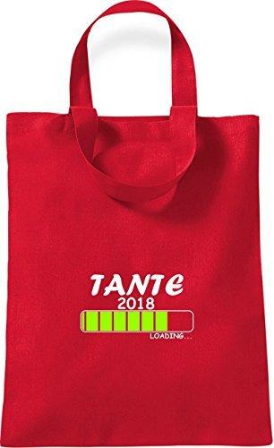 ShirtInStyle kleine Bolsa de algodón TANTE 2018 Cargando Nacimiento Regalo - Rojo, 26 cm x 32,5 cm Rojo