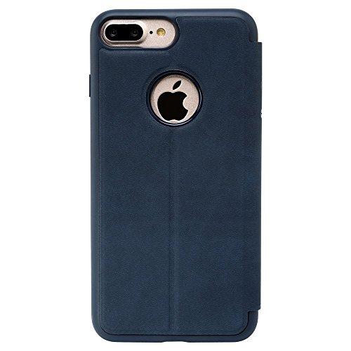 BASEUS Simple Series Sliding Answer Window View Leather Tasche Hüllen Schutzhülle Case für iPhone 7 Plus - dark blau