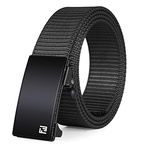 Fairwin Men's Military Tactical Web Belt, Nylon Canvas Webbing YKK Plastic/Metal Buckle Belt (Retchet Black, S-Fits waist 32