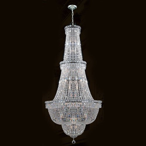 Worldwide Lighting W83033C28 Empire Collection 34 Light Chrome Finish Crystal Chandelier 28 inch D x 56 inch H Round large Transitional Empire Collection 34 Light Round Crystal Chandelier, 28″ D x 56″ H Large