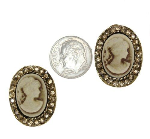 Vintage Lady Profile Cameo Style Simulated Rhinestone Post Back Earrings