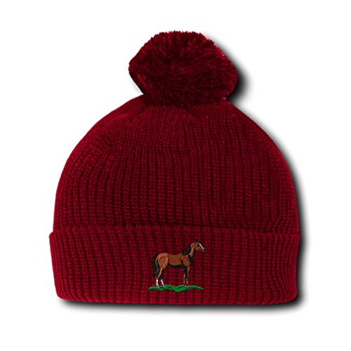 Quarter Horse Embroidery Embroidered Pom Pom Beanie Skully Hat Cap Red