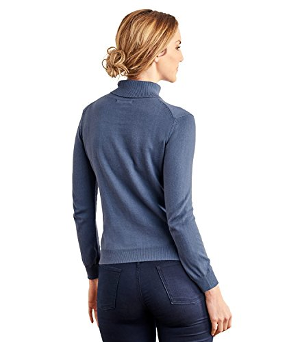 WoolOvers Pull à col roulé - Femme - Soie & Coton Light French Navy, M
