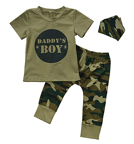 Camo Baby Girl Clothes, Toddler Boys Camouflage Short Sleeve T-Shirt Tops Green Long Pants Outfit Headband Casual Outfit (2Boy, 18-24Months)