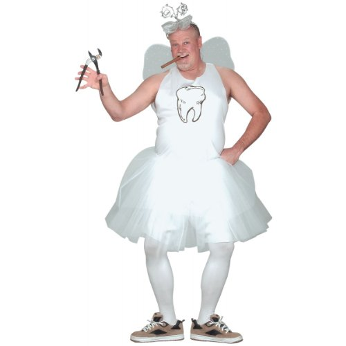 Fun World Men's Tooth Fairy Adult Costume, white, STD. Up to 6' / 200 lbs. -