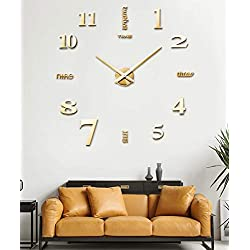 SIEMOO Large DIY Wall Clock Kit, 3D Frameless Wall Clock Kit Modern Design Mirror Number Stickers Clock for Home Living Room Bedroom Office Decoration-Gold