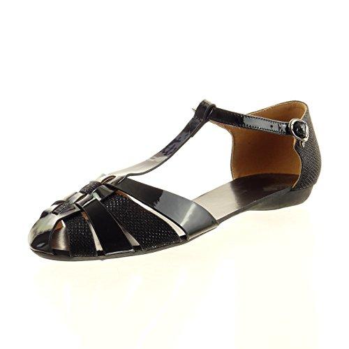 Sopily - Scarpe da Moda sandali cinturino alla caviglia donna verniciato paillette Tacco a blocco 1 CM - Nero