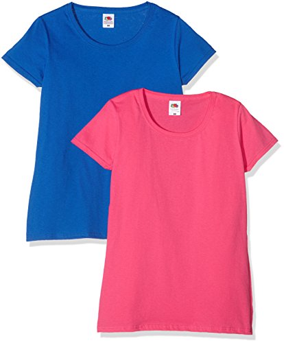 Fruit of the Loom Ladies Valueweight T, Top para Mujer Multicolor (Royal/Fuchsia)