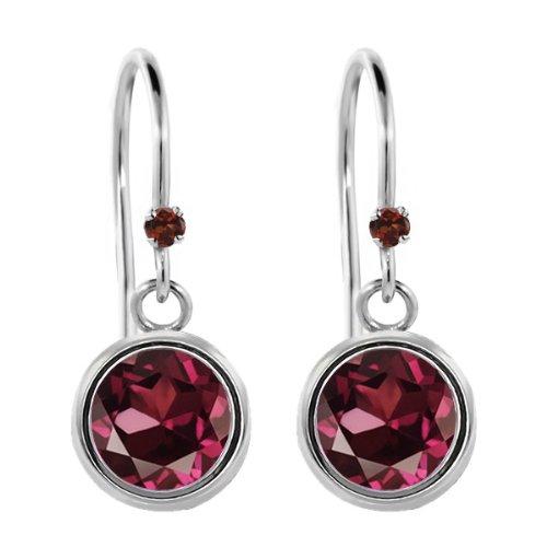 - Gem Stone King 2.03 Ct Round Red Rhodolite Garnet Red Garnet 925 Sterling Silver Earrings