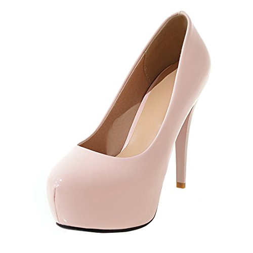 YE Damen Stiletto Pumps Geschlossene Lack High Heels Plateau mit 12cm Absatz Elegant Simple Party Schuhe Rosa