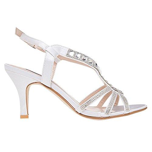 SheSole Womens Wedding Shoes High Heels White Silver Sandals White oypSMGChh