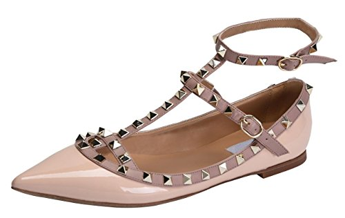Jiu du Women's Sexy Ankle Strap Flats Shoes Pointed Toe Fashion Rivets Party Shoe Nude Patent Pu cheap looking for cheap shop offer cheap sale browse discount low price fee shipping 00xAWE