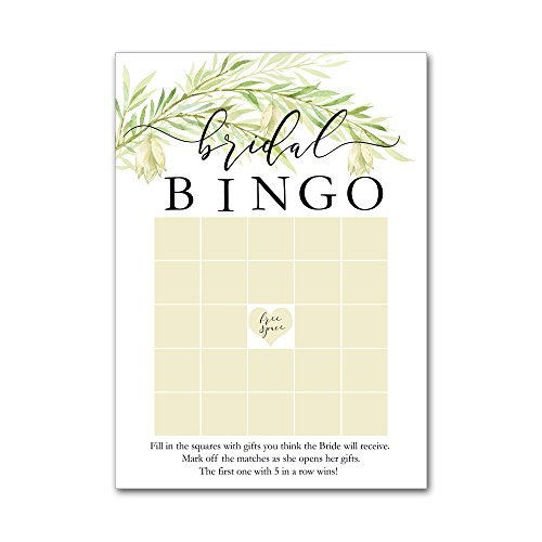 Bingo Game Cards for Bridal Wedding Showers with Watercolor Wild Flowers Leaves Leaf Branch BBG8016 by Heads Up Girls