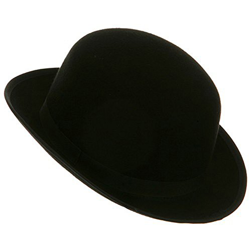 Black Blended Wool Felt Derby Bowler Hat Medium