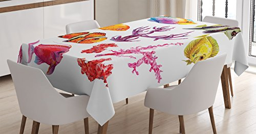Ambesonne Ocean Decor Tablecloth, Illustration of Tropical Fish, Seaweed Coral Algae and Jellyfish Oceanic Wild Life, Dining Room Kitchen Rectangular Table Cover, 60 X 90 inches, Orange Purple