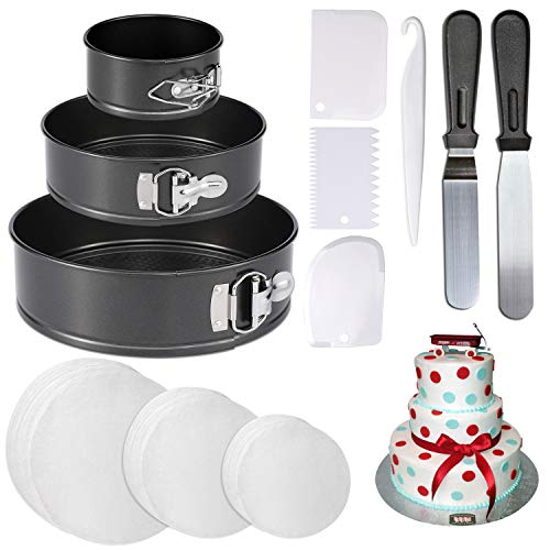 4'' 7'' 9'' Springform Cake Pan and 150-piece Parchment Paper Liners,Non-stick Round Bakeware Cake Pan 2 Icing Spatula 3 Icing Smoother by Hanyan
