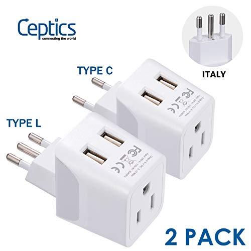 Italy, Europe Travel Adapter Plug Set by Ceptics - 2 Pack - with 2 USB + USA Socket Input - Type L and Type C - Ultra Compact - Safe Grounded Perfect for Cell Phones, Laptops, Camera Chargers