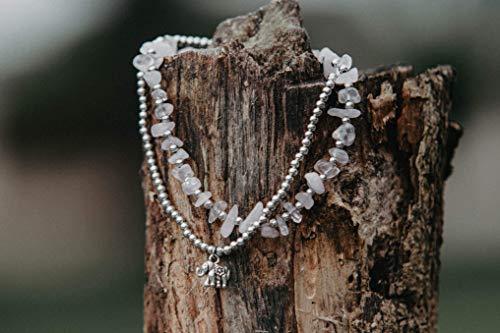 Changnoi Rose Quartz Silver Elephant Charm Anklet Bracelet for Women, Festival Anklet, Handcrafted Boho Anklet Bracelet, Unique Gift