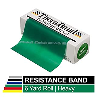 TheraBand Resistance Bands, 6 Yard Roll Professional Latex Elastic Band For Upper & Lower Body, Core Exercise, Physical Therapy, Pilates, Home Workouts, & Rehab, Green, Heavy, Intermediate Level 1