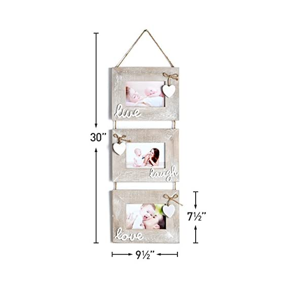 """Yaetm Live Laugh Love Collage Hanging Picture Frame 4x6"""", Solid Wood 3 Photo Frames Set, Wall Mount Verticval Display, Rustic Grey - 【Unique Design】: Made of rustic solid wood, shabby chic style, high definition real glass, Each frame attached a cute HEART and live laugh love, Hanging on wall with a rope. This haning frame is carefully designed for sweet family wall decor. 【DIMENSION】: Total display dimension is 30 x 9.5 inch with hanging rope. Each 4x6 rustic frame outline size is about 9.5x7.5 inch, holds 4 x 6 inch photographs/pictures/portraits/art prints. 【Easy to use & install】: With the hanging rope, the photo frame can be easily mounted on the wall. Each frame comes with easy opening tabs at the back to make the photograph changing more easy. - picture-frames, bedroom-decor, bedroom - 416BoCkWBeL. SS570  -"""