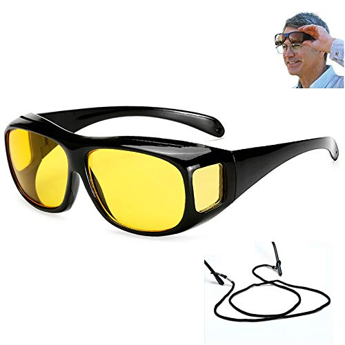 UV400 Night Vision Goggles Fit Over Prescription Glasses Wrap Arounds Sunglasses with Side Shield for Driving Protection Outdoor Yellow Lens
