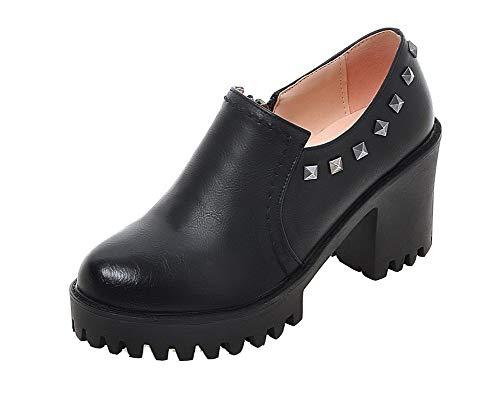 Alto Mujeres De Negro Sólido Agoolar Gmxdb008323 Zapatos Cremallera Puntera Tacón Tacón Redonda 8SnIdq