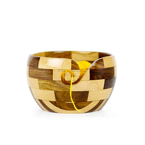 Mixed Premium Yarn Storage Bowl for Yarn Balls & Skeins | Crochet & Knitting Bowls Made Out of Turmeric & Rosewood | Knitter's Gift & Notions | Nagina International (Set)