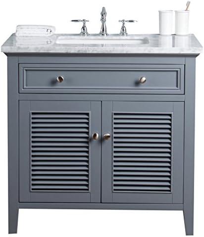 Stufurhome HD-1300G-36-CR Genevieve 36 inch Slate Gray Vanity Cabinet w/Shutter Double Doors Single Bathroom Sink