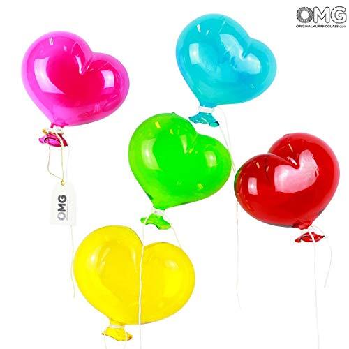 - Original Murano Glass OMG 5 Heart Glass Balloons - to Hang