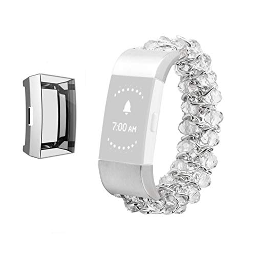 for Fitbit Charge 3 Chain Band Women, TPU Plating Bumper Screen Protector with Watch Strap Bead Bracelet for for Fitbit Charge 3 Tracker (Silver)
