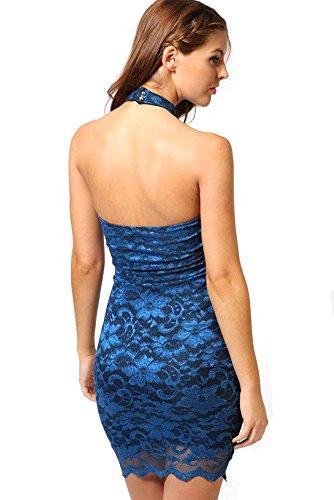 Badi Backless Bodycon Blu Pizzo Breve Per Sexy Vestito Floreale Sottile Na Le Donne dtxq6w1
