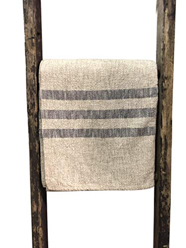 Hope Woodworking Cotton, Woven Throw Blanket, Cream with Navy Stripe, 52''x80'', Ruby Stripe Pattern, American Made by Hope Woodworking (Image #2)