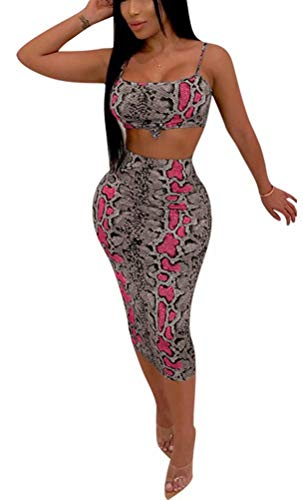 - Women 2 Piece Set Leopard Print Sleeveless Top and Midi Skirts Set Jogger Tracksuits Outfits Red S