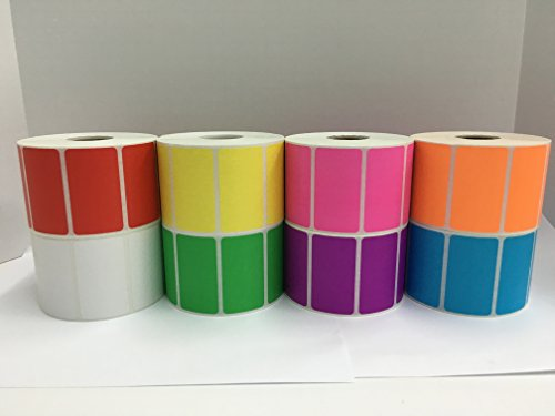 - 8 Rolls of Colored 2.25x1.25 Direct Thermal 1000 Labels P/R (1 Roll Each OR,YL,RD,PU,PK,BL,GR,WH)