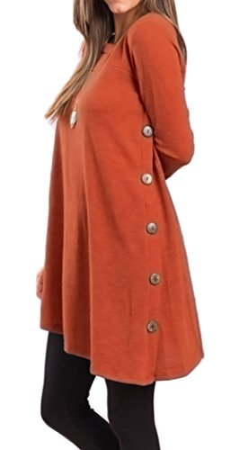 Button Side Sweater Tunic Inclined Handkerchief Hem Long T-shirts Fall Fashion (M, Orange)