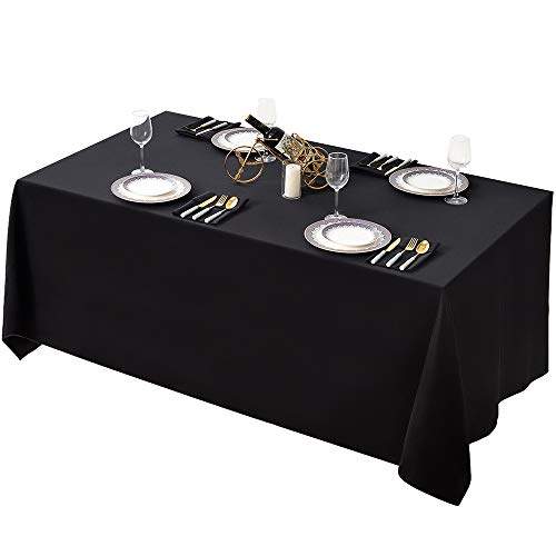 Black Fabric Tablecloth (Surmente 90 x 132-Inch Table Cloth Rectangular Polyester Tablecloth for Weddings, Banquets, or Restaurants (Black) ... ...)