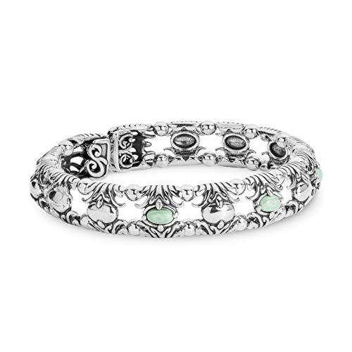 Carolyn Pollack Sterling Silver Green Variscite Gemstone Fleur de Lis Cuff Bracelet Size Large