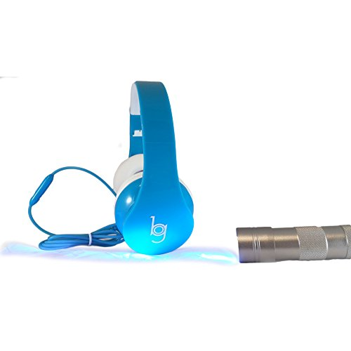 - Glow Headphones with Blacklight LED Flashlight from Bryte Gear - Blue - Make it Glow in the dark