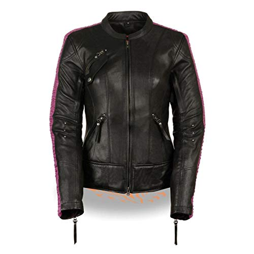 Milwaukee Leather Women's Embossed Phoenix Jacket (Black/Fuchsia, 4X-Large) (Leather Jacket Pink Motorcycle)