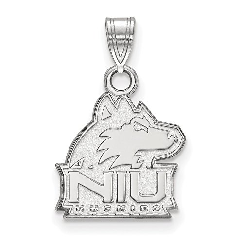 10k White Gold LogoArt Official Licensed Collegiate Northern Illinois University (NIU) Small Pendant by Logo Art