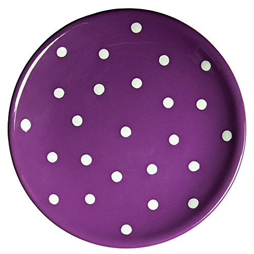 - City to Cottage Handmade Purple and White Pottery Polka Dot Glazed 7.9inch/20cm Side Plate, Dessert Plate, Unique Ceramic Dinnerware, Housewarming Gift
