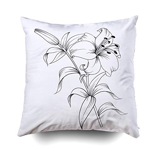 - Musesh White Lily Isolated White Background Card Blooming Cushions Throw Pillow Cover for Sofa Home Decorative Pillowslip Gift Pillowcase 20X20Inch