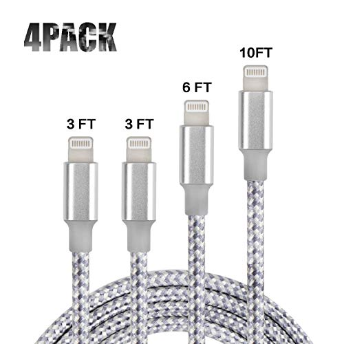 - Widirong Newest Charging Cable, USB Charging Cable, Fast Charging Power Cord, Cable Compatible with Phone XS/Max/XR/X/8 Plus/7 Plus/6 Plus, Zinc Alloy, 4 Pack 3Ft/6Ft/10Ft