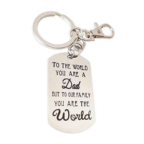 Chic Father's Day Keychain -Thick Stainless Steel Tag Corrosion Word,Let Your Love Stay Forever, Unique Souvenir Best Father's Day Gift (Style2 To the World)