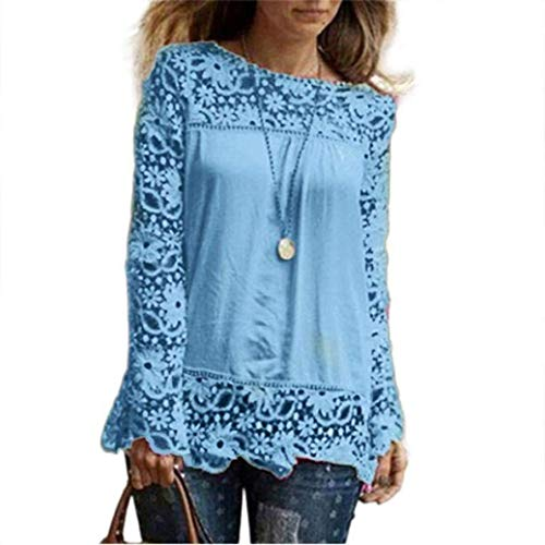 Hale Tomlinson Fashion New Listed Fashion Womens Long Sleeve Shirt Casual Lace Blouse Loose Cotton Tops T Shirt XXXXL|Light Blue