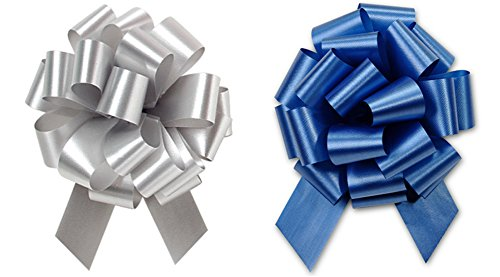 Christmas Hannukah Gift Wrap- Royal Blue & Gold, Silver or White Satin Pull Bows Value Pack - 12 Pcs (Royal Blue & Silver)