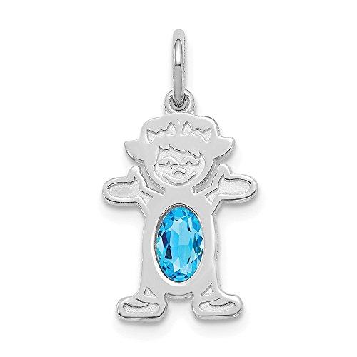 Jewelry Pendants & Charms Birthstone 14K White Gold Girl 6x4 Oval Genuine Blue Topaz-December