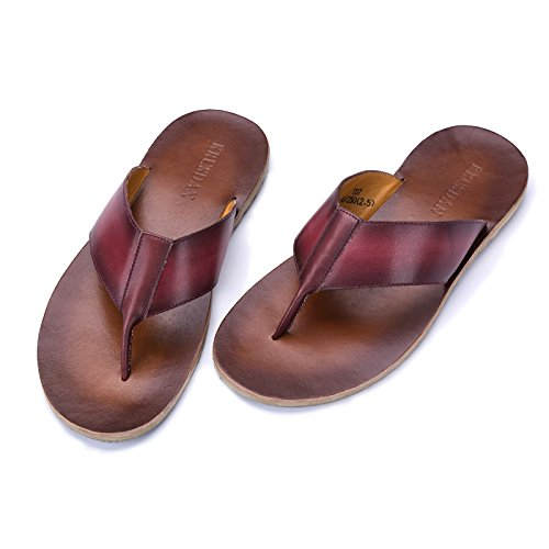 Ruiyue Thong Leisure Flip Flops Shoes, Leisure Thong Beach Flip Flops Genuine Leather Slippers Sandals Outdoor Thong Beach Shoes Men 42-EU|Red B07GBWFC9D 9f036c