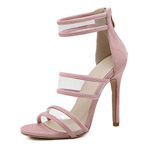 CHNHIRA Women's Summer Plastic Court Shoes Stiletto Slip On High Heels Pink 66KcA